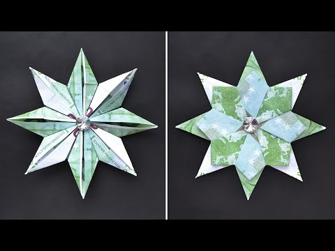 origami-blume-(stern)-euro-geldschein-geld-falten-|-money-origami-flower-(star)-euro-bills-|tutorial