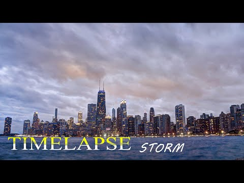 Thumbnail image for 'Time lapse footage of the storm rolling thru the Chicago Skyline near North Ave. Beach'