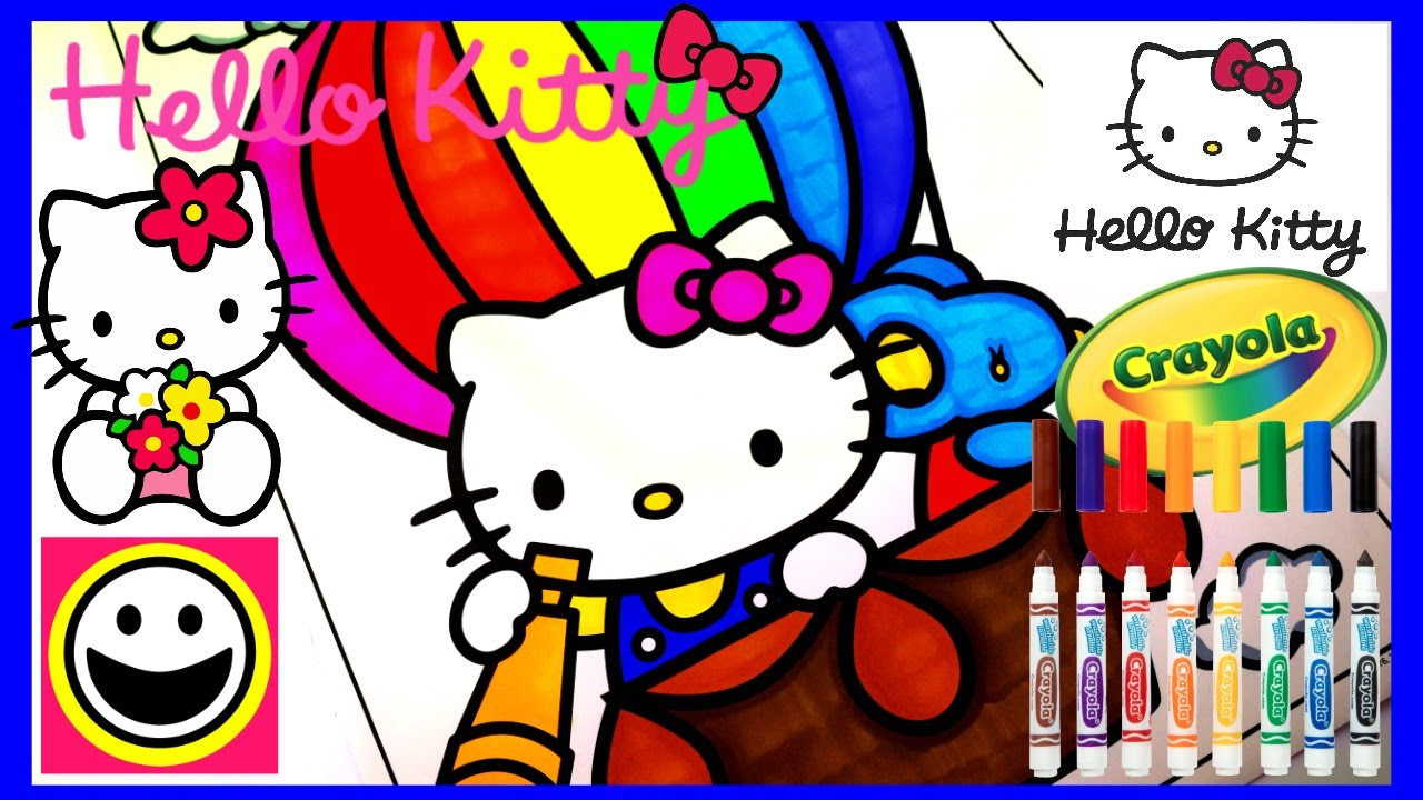 HELLO KITTY In A HOT AIR BALLOON Crayola Coloring Pages