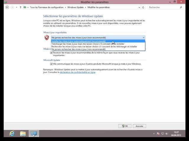 Activation des mises à jour automatiques sous Windows 8 (FR)