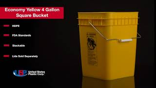 Economy Yellow 4 Gallon Square Bucket | U.S. Plastic Corporation®