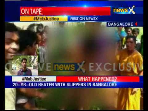 Bangalore mob strips, thrashes molesters tied to tree in street justice