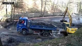 Ennepetal Hülsenbecker Tal Entschlammung des oberen Teiches mit Bagger 29.2.2016