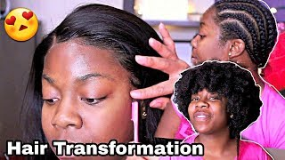 HAIR TRANSFORMATION on My Sister   RPGHair Yaki 360 Wig