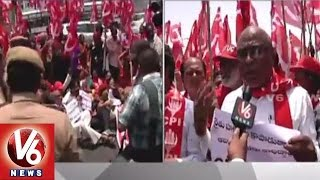 Cpi Rally Protesting Against Nda Opposing Land Acuisition Act 2013 - Hyderabad(14-05-2015)