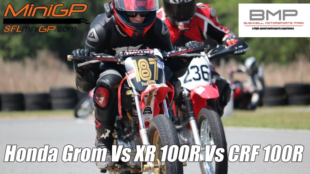 Honda XR100 vs Groms vs CRF100 Supermoto race, CLOSE chase ...