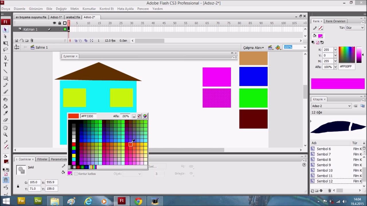Ev Boyama Oyunu Yapımı Adobe Cs6 Flash Youtube