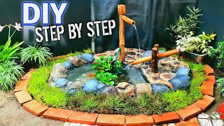 How To Make A Stone Garden Goldfish Aquarium from Bricks and A Bamboo Waterfall Easily