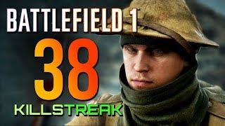 Battlefield 1: 38 Killstreak! No Revives (4K PS4 PRO Multiplayer Gameplay)