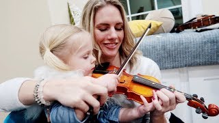 Baby's First Violin Lesson! (cute)