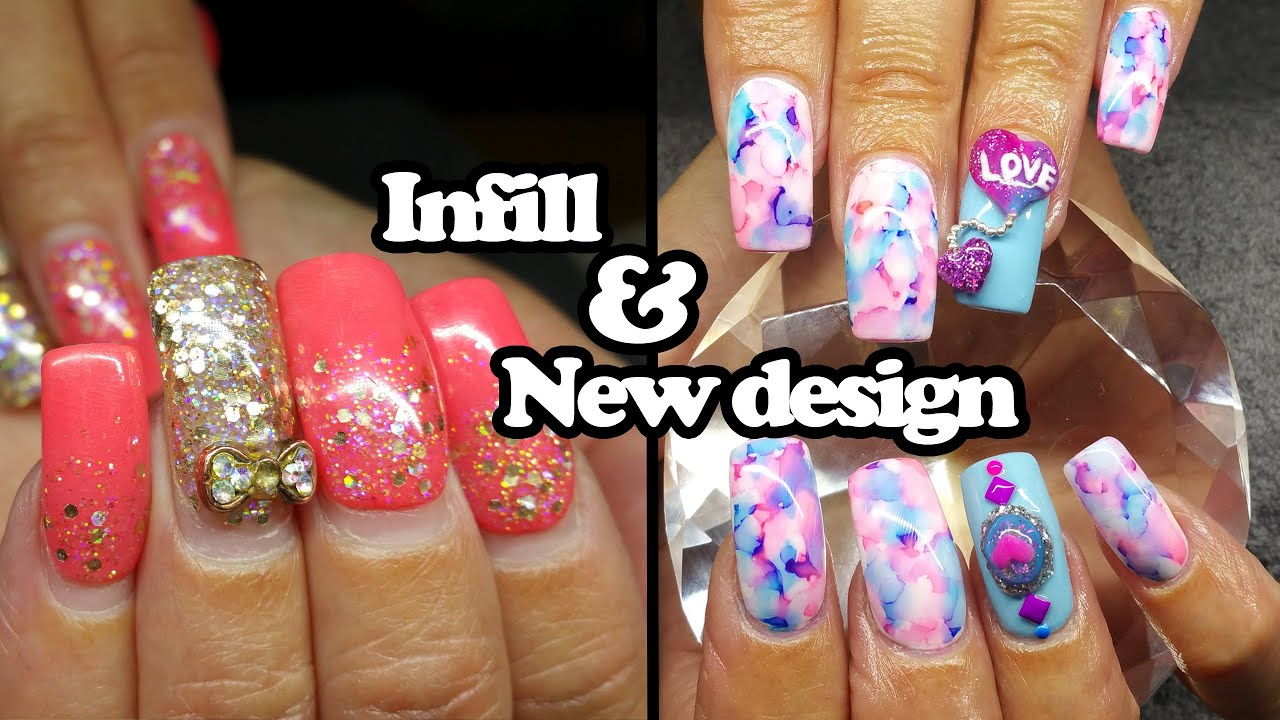 Acrylic infill and design change | Water colour nails - YouTube