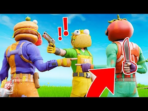 WHICH FOOD is the KILLER? *FOOD FIGHT* (Fortnite Murder Mystery)