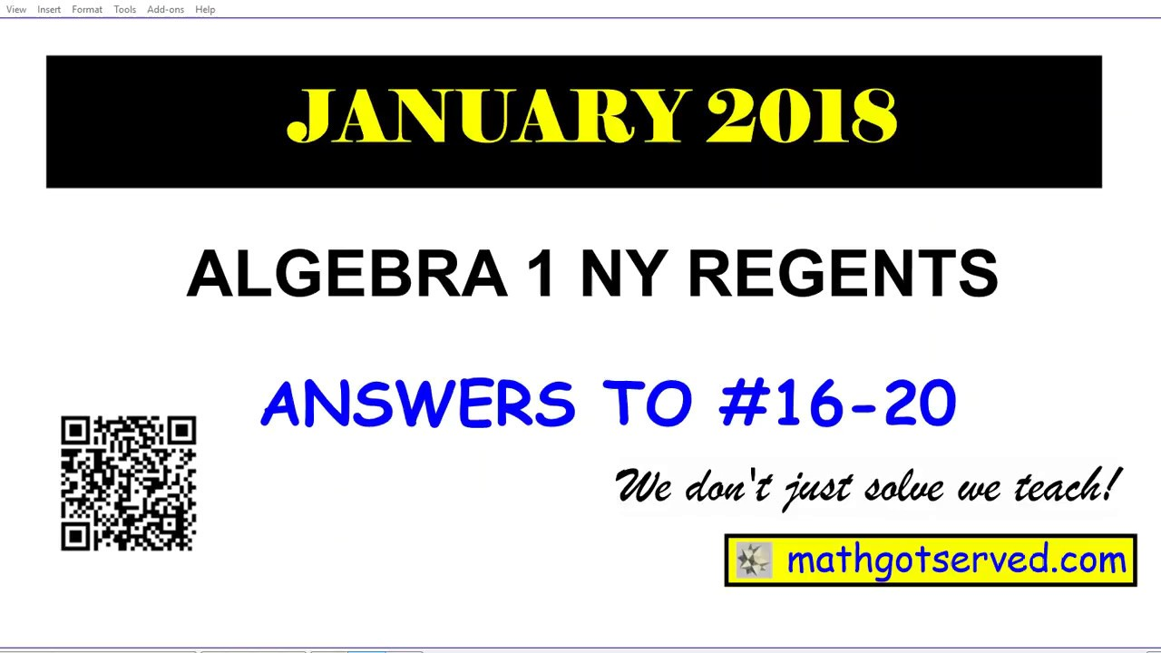 January 2018 algebra 1 # 16 to 20 NYS Regents exam solutions worked out  steps