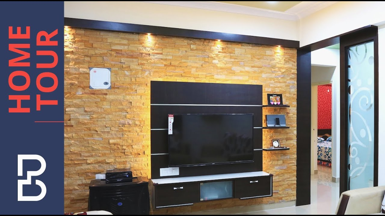 Walkthrough of mr arun 2 bhk house interior design for Living room interior bangalore