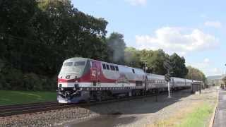Amtrak Pennsylvanian train 42 with Veterans unit Lewistown, PA 10 8 13