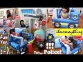 Toy Channel: Police Pretend Playtime. Rescue Center Fire and Police Station. Inflatable Play Tent