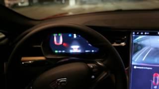 Tesla Model S auto parking in tight garage