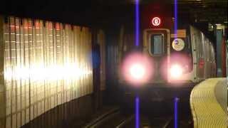 BMT Broadway Line: R160B Siemens Q Train at Whitehall St-South Ferry (Weekend)