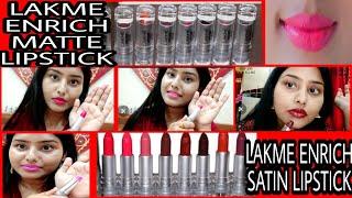 Lakme Enrich Matte Lipstick amp Lakme Enrich Satin Lipstick Review Swatches Best Indian brand