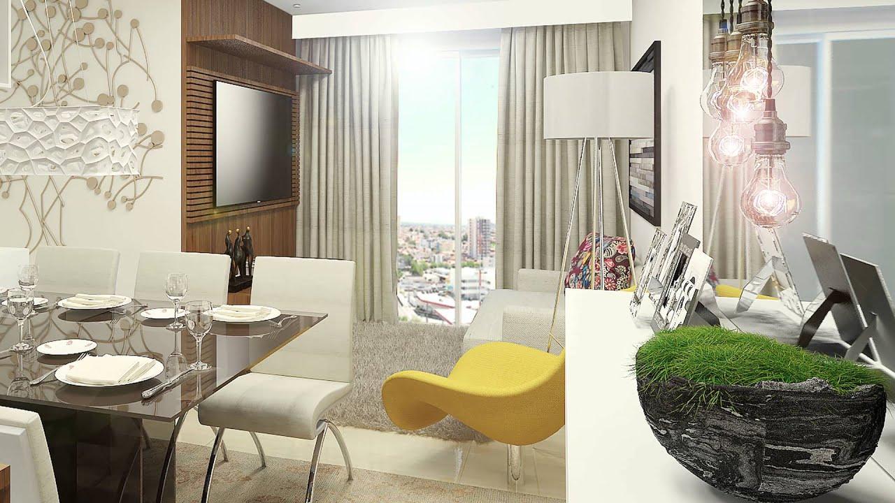 #486626 Sala de Estar /Jantar e Cozinha Apartamento 66 m² 4K   1920x1080 píxeis em Decoração Sala De Estar E Jantar Juntas