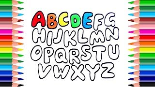 Funny Alphabet Coloring Pages | How to Draw Alphabet and Number | Drawing and learn colors for kids