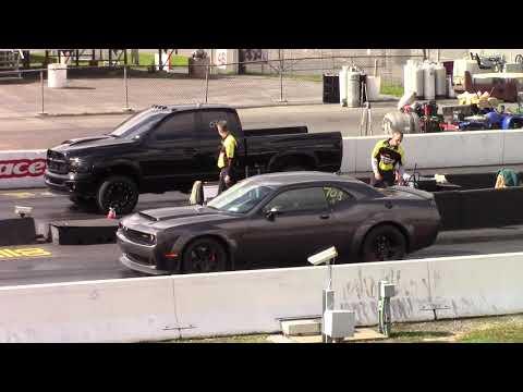 Dodge Demon vs Cummins Turbo Diesel 1/4 Mile Drag Race - YouTube Callout Maple Grove