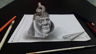 Dibujando una Botella de porcelana de la cultura Moche | 3D Drawing