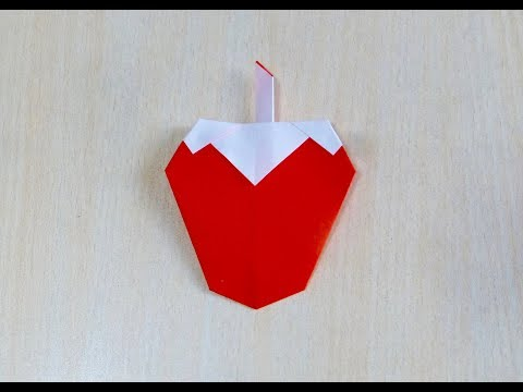 How to make Strawberry. Origami. The art of folding paper.