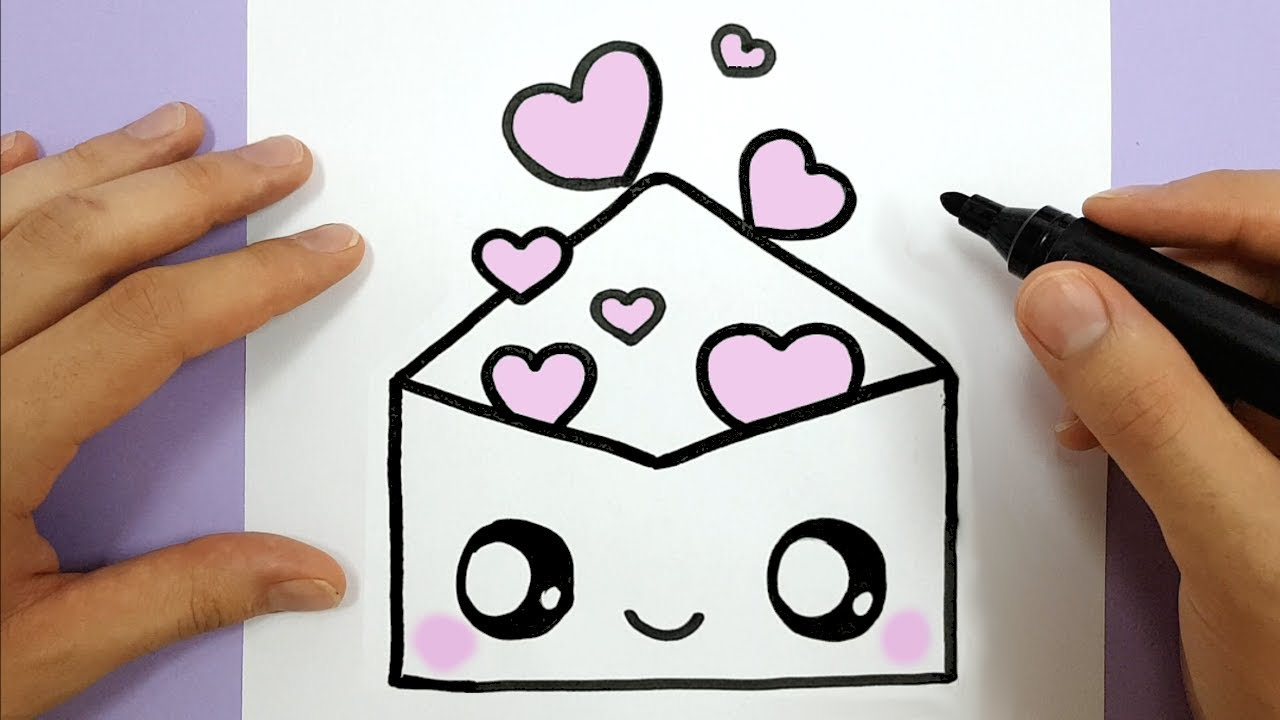 how to draw a cute envelope with love hearts easy happy drawings
