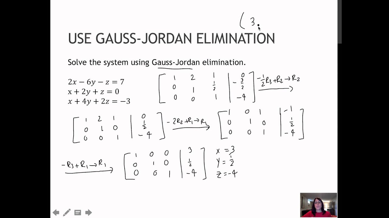 gauss jordan matrix elimination The difficult part of gauss-jordan elimination is the bit in the middle—deciding which columns to manipulate and how to convert them in to leading 1s consider a matrix a n x m in the middle of the computation.