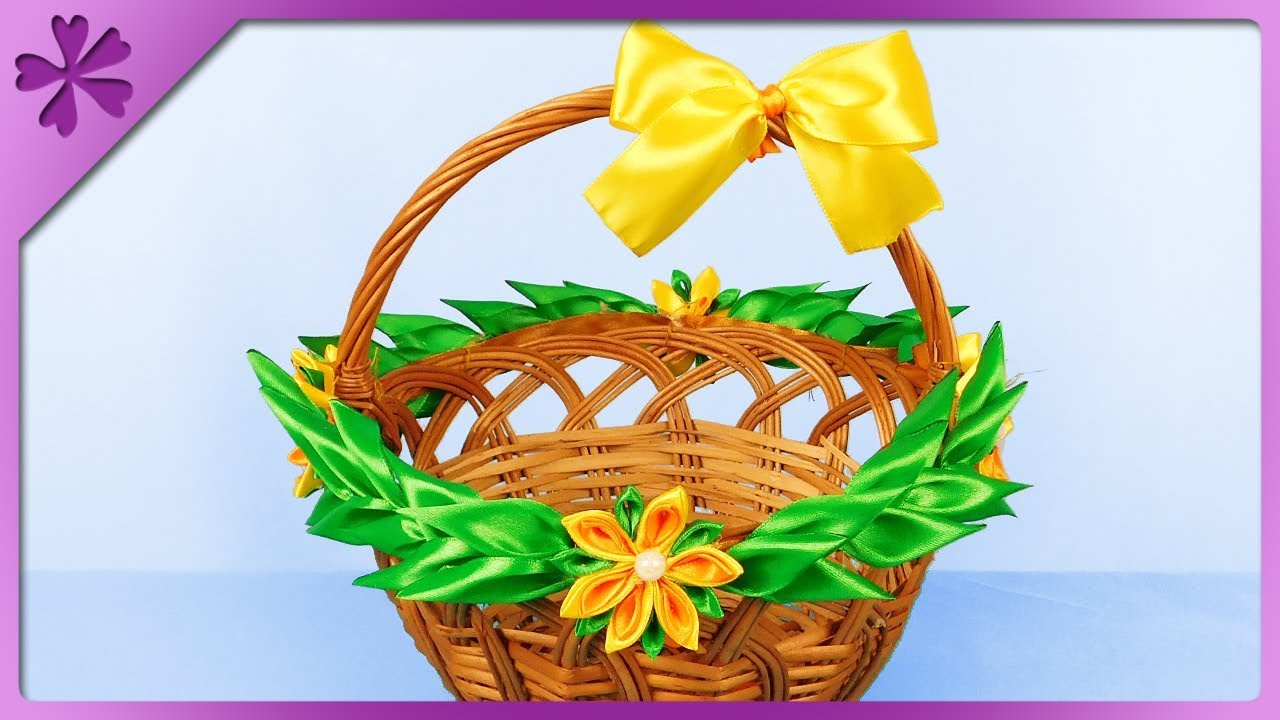 Diy How To Decorate Easter Basket By Using Kanzashi Ribbon Flowers Eng Subtitles Speed Up 471