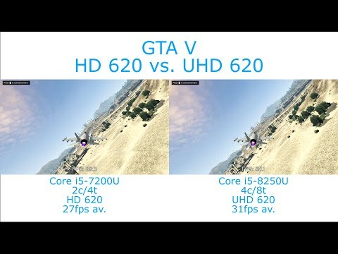 Intel Core i5-7200U vs  i5-8250U - Grand Theft Auto V