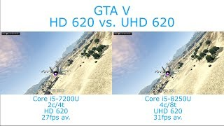 Intel Core i5-7200U vs i5-8250U - Grand Theft Auto V