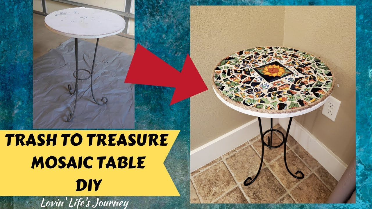 trash to treasure diy mosaic table tutorial