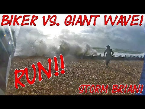 BIKER vs. GIANT WAVE...RUN!