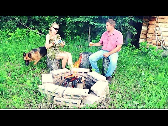 Campfire at a remote cabin