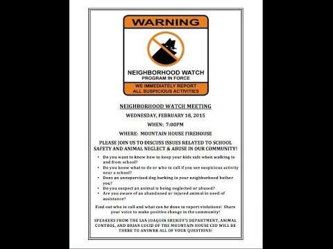 MH Neighborhood Watch Meeting - Animal Services