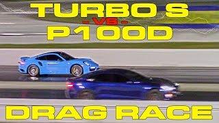 675hp Porsche Turbo S Vs Tesla Model S P100d Ludicrous 1/4 Mile Drag Racing