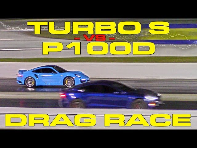 Tesla Model S P100D duels modded Porsche 911 Turbo S in drag
