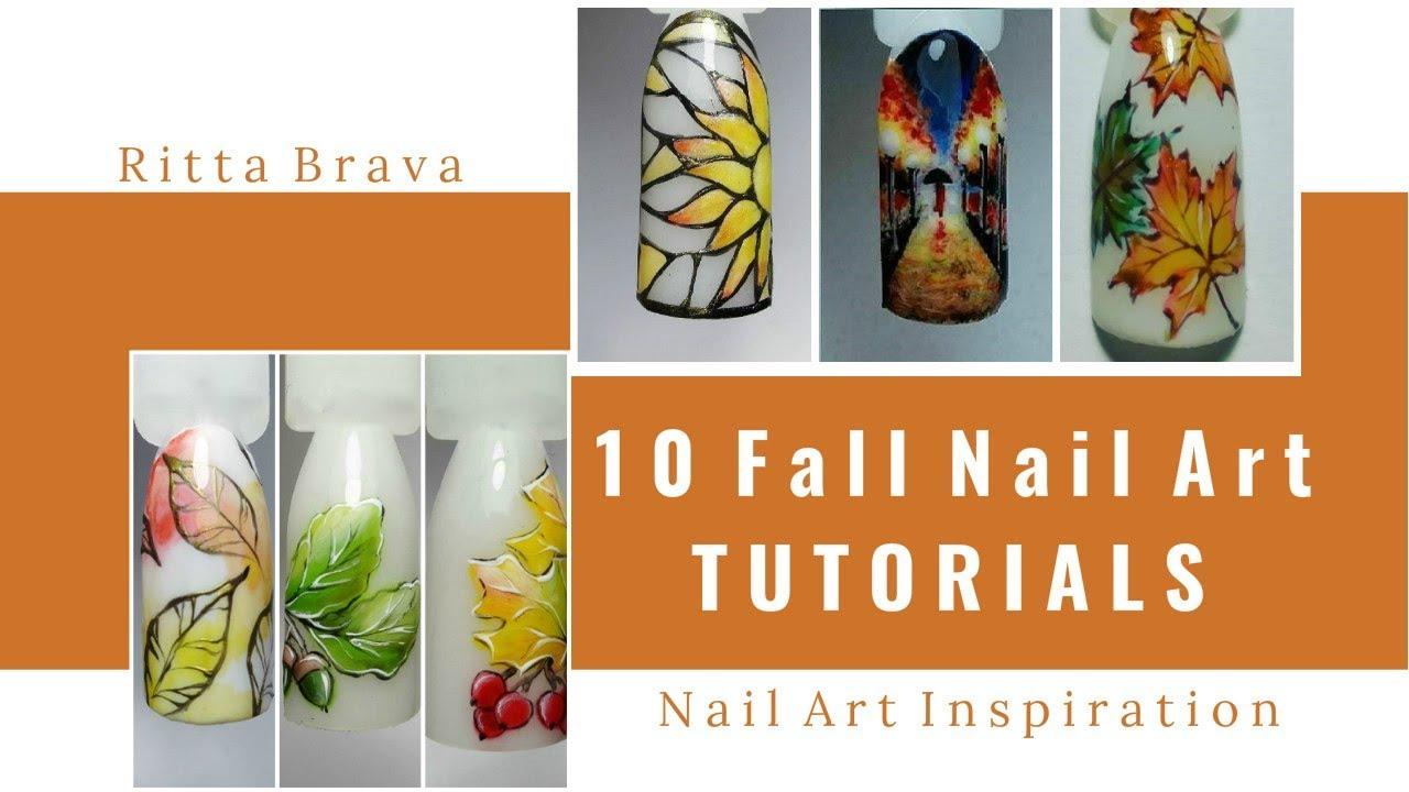 10 Fall Nail Art Tutorials - DIY Easy Fall Nails Design - YouTube