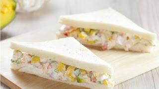 【楊桃美食網-3分鐘學做菜】酪梨蝦沙拉三明治