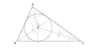 Incentro de un triángulo (bisectrices-circunferencia inscrita)