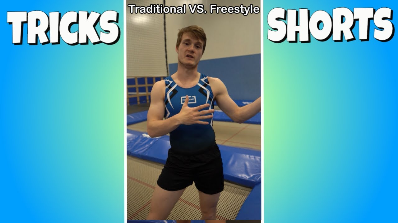 TRADITIONAL VS FREESTYLE TRAMPOLINE! Cross Jumps #Shorts