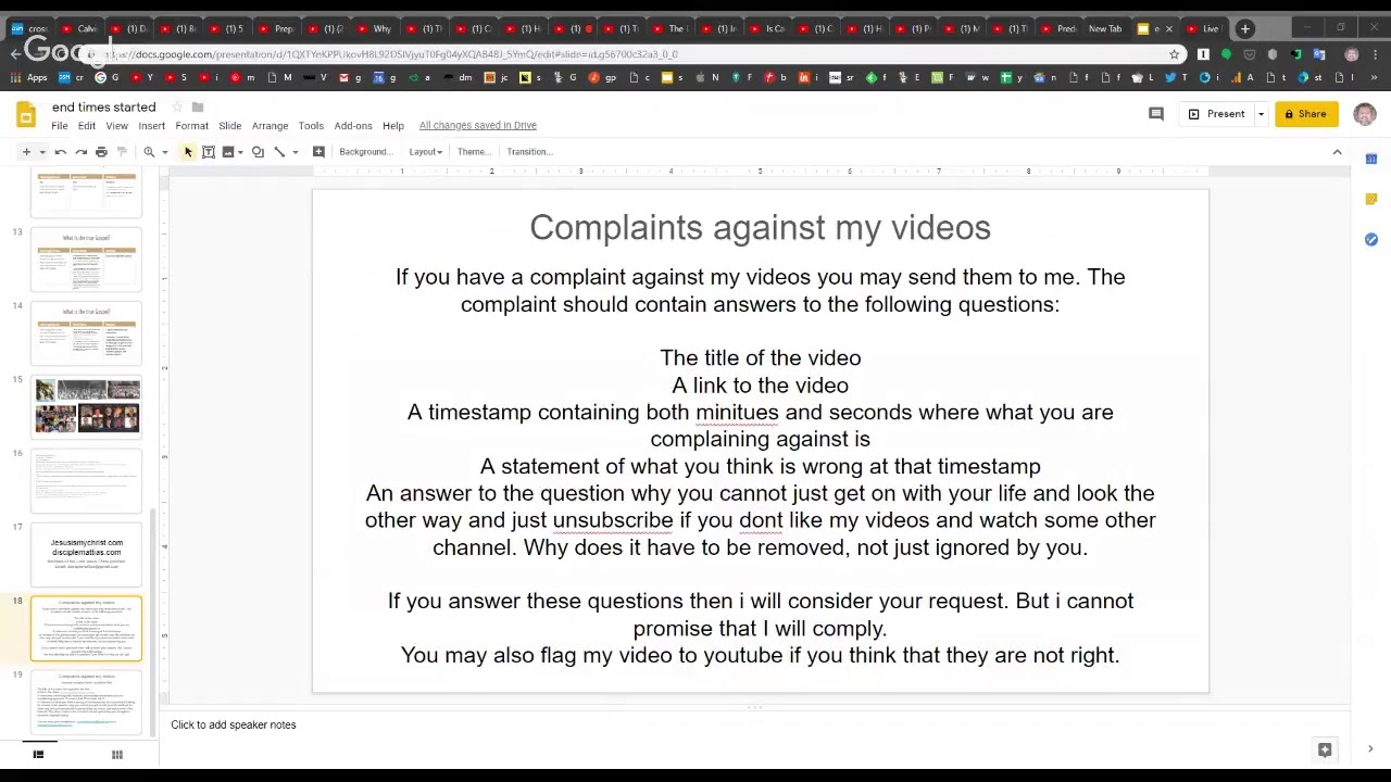 Complaints against my videos