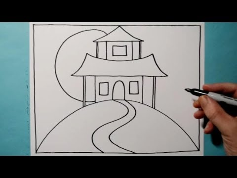 Cool Haunted House Pattern / 3D Line Illusion Drawing / Daily Art Therapy / Day 0147