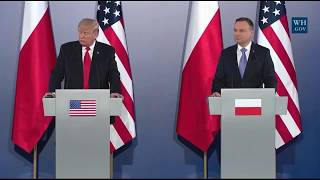 President Trump RESPONDS to the CNN wrestling tweet,russia,obama in conference in Warsaw Poland