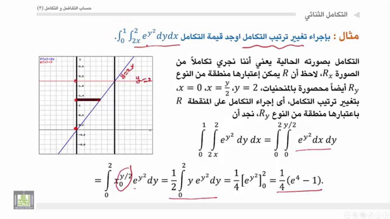 حساب التفاضل والتكامل 3   الوحدة 2   التكامل الثنائي - 2