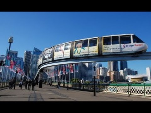 MONORAIL train in Sydney CBD, Australia, HD video, real sound
