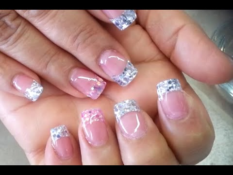 Silver, Pink Glitter Acrylic French Nails