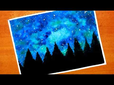 How to paint easy and simple galaxy scenery painting with acrylic colour…